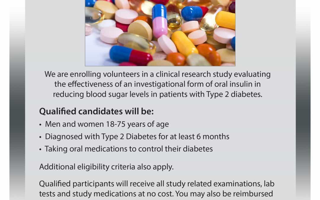 Oral Insulin for Type 2 Diabetes Study flyer