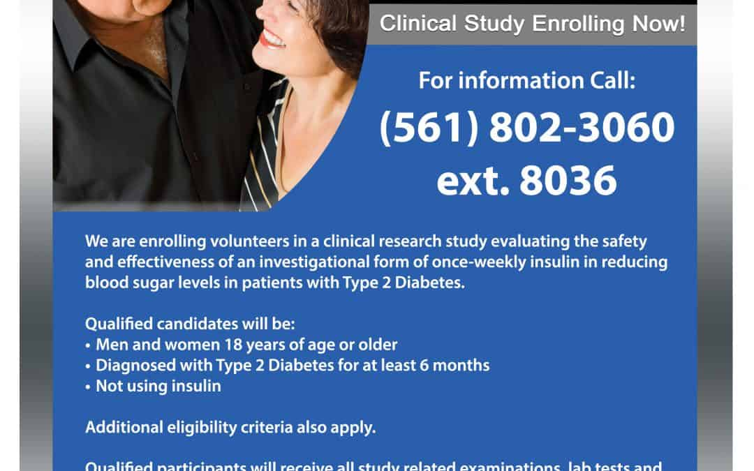 Once Weekly Insulin Study for Type 2 Diabetics Not Using Insulin