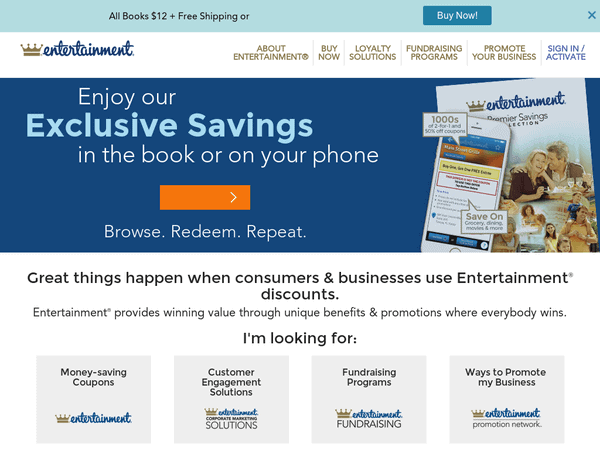 Father's Day Gifts, Graduation Gift – ENTERTAINMENT 2-for-1 COUPON BOOKS – NOW ONLY $ 5 – Hundreds of Local RESTAURANTS, DISCOUNTS