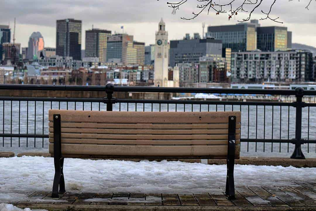 Bench Facing Montreal Downtown in the Morning