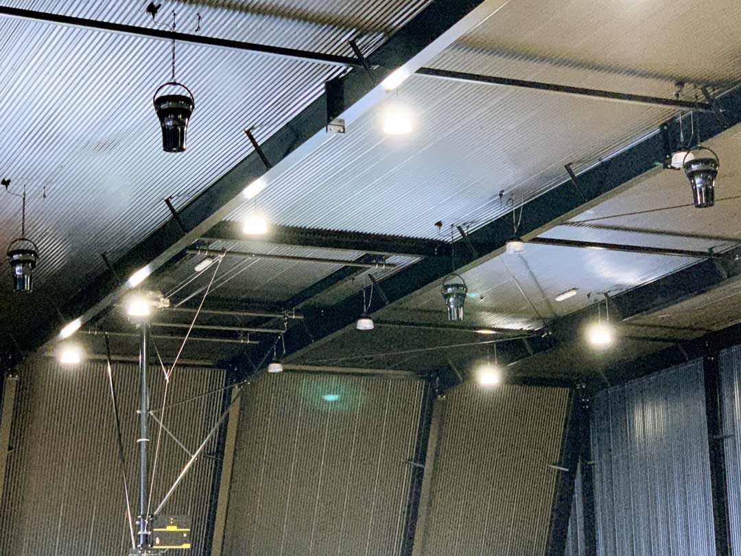 Painted-Airius-Cooling-Fans-in-Ballina-Indoor-Sports-Centre