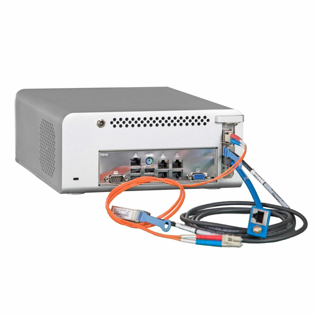 DaqScribe Solutions Desktop 2x10GbE-Link Capture & Record System DDR70-Mini-20-D back panel with connectors