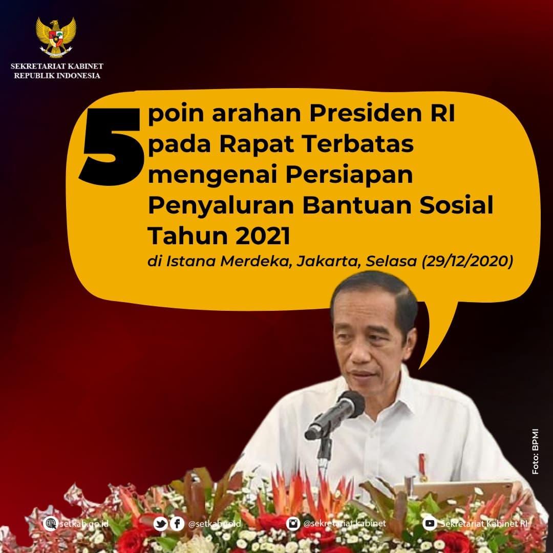 Arahan Presiden Joko Widodo mengenai Persiapan Penyaluran Bansos 2021