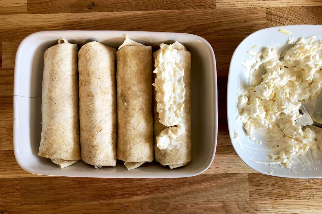 Enchiladas in the baking dish