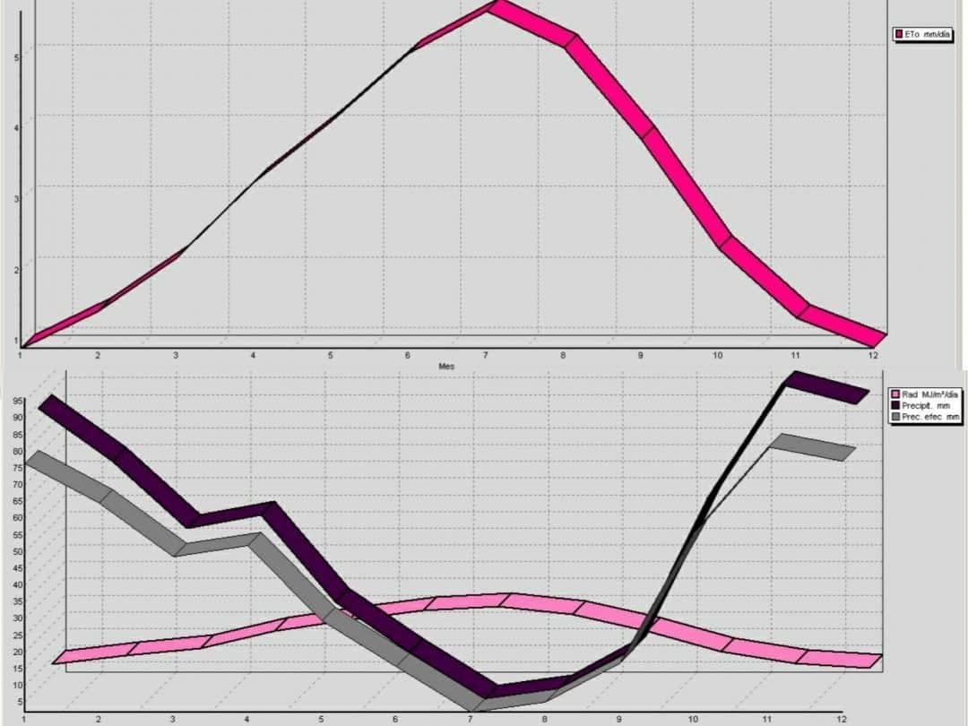 graficos eto y precipitacion con el cropwat