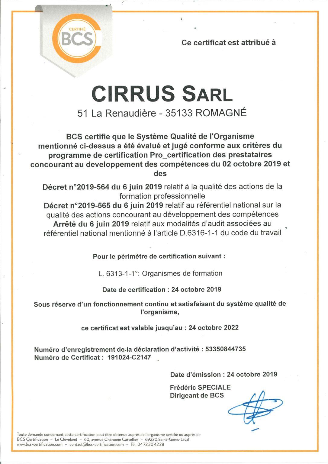 Certificat référentiel national qualité cirrus sarl organisme de formation