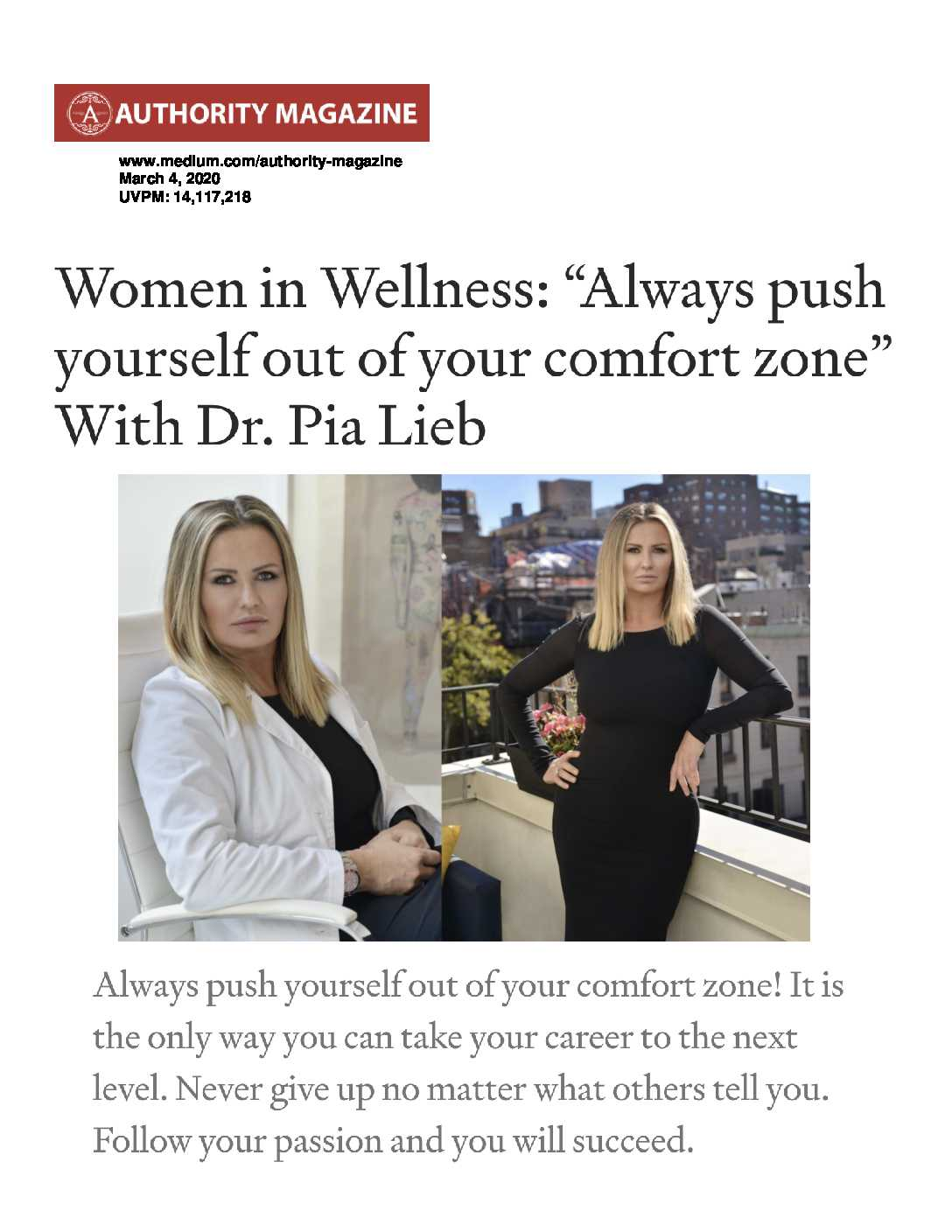 Link to Authority Magazine article discussing pushing yourself out of your comfort zone.