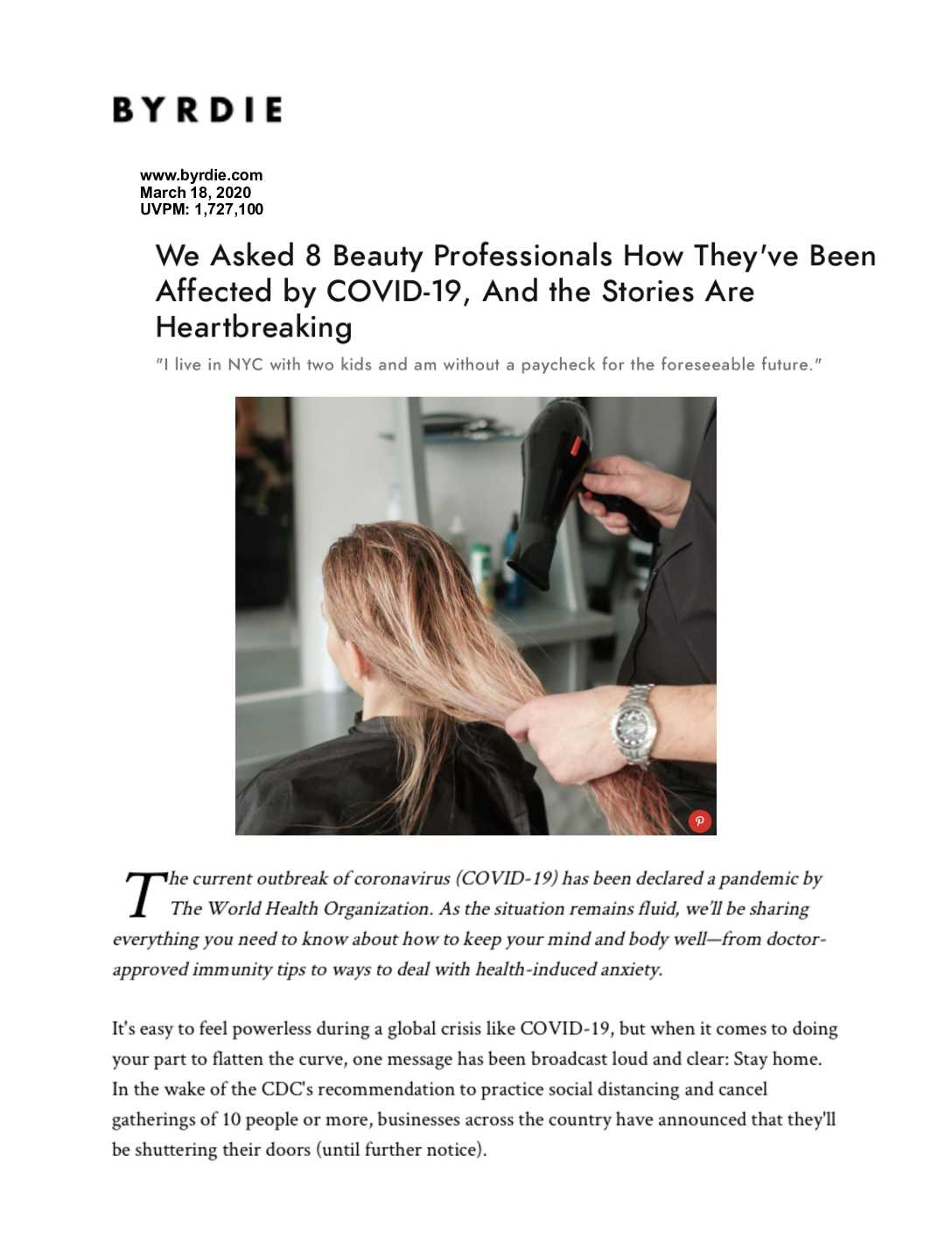 Link to a BYRDIE article about How Beauty Professionals are dealing with COVID-19.