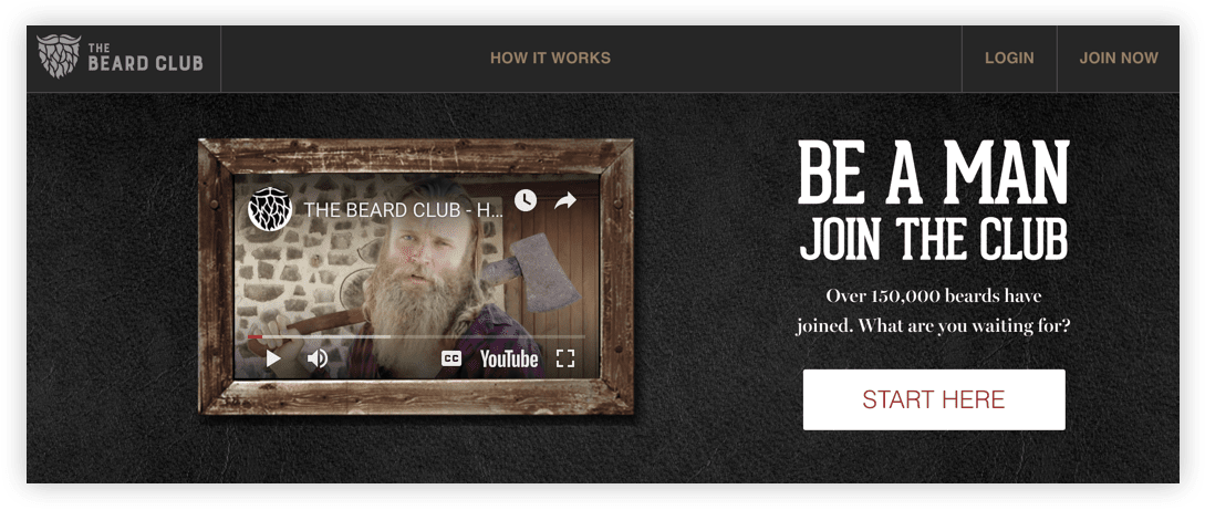 Screenshot of the Beard Club's video on their homepage