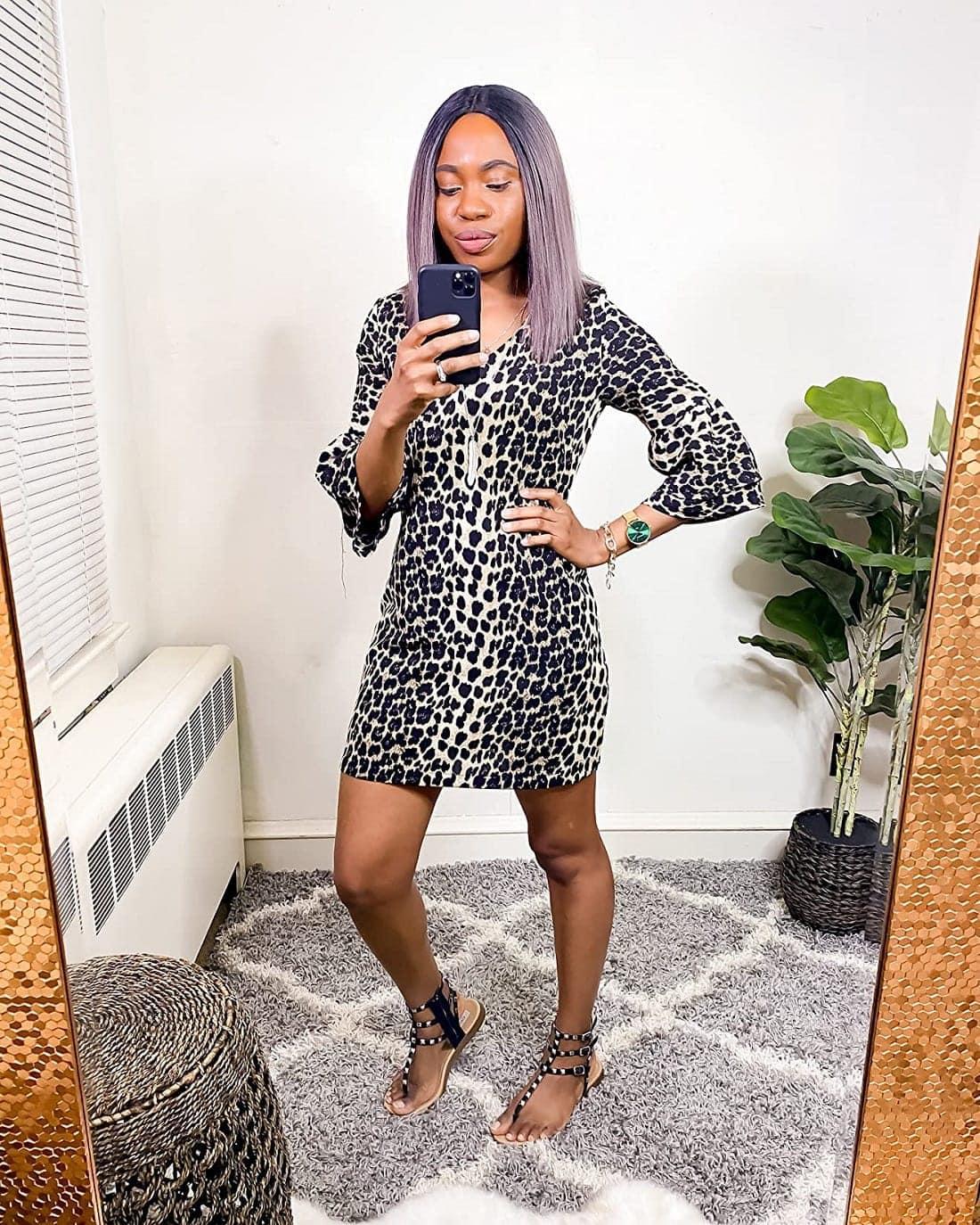 A bestseller leopard print short dress from Amazon dress haul collection