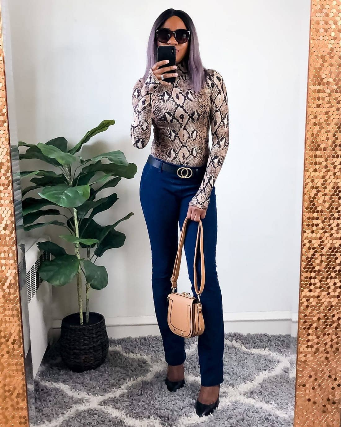 Looking stunning in my Betabrand jeans with a Leopard print bodysuit