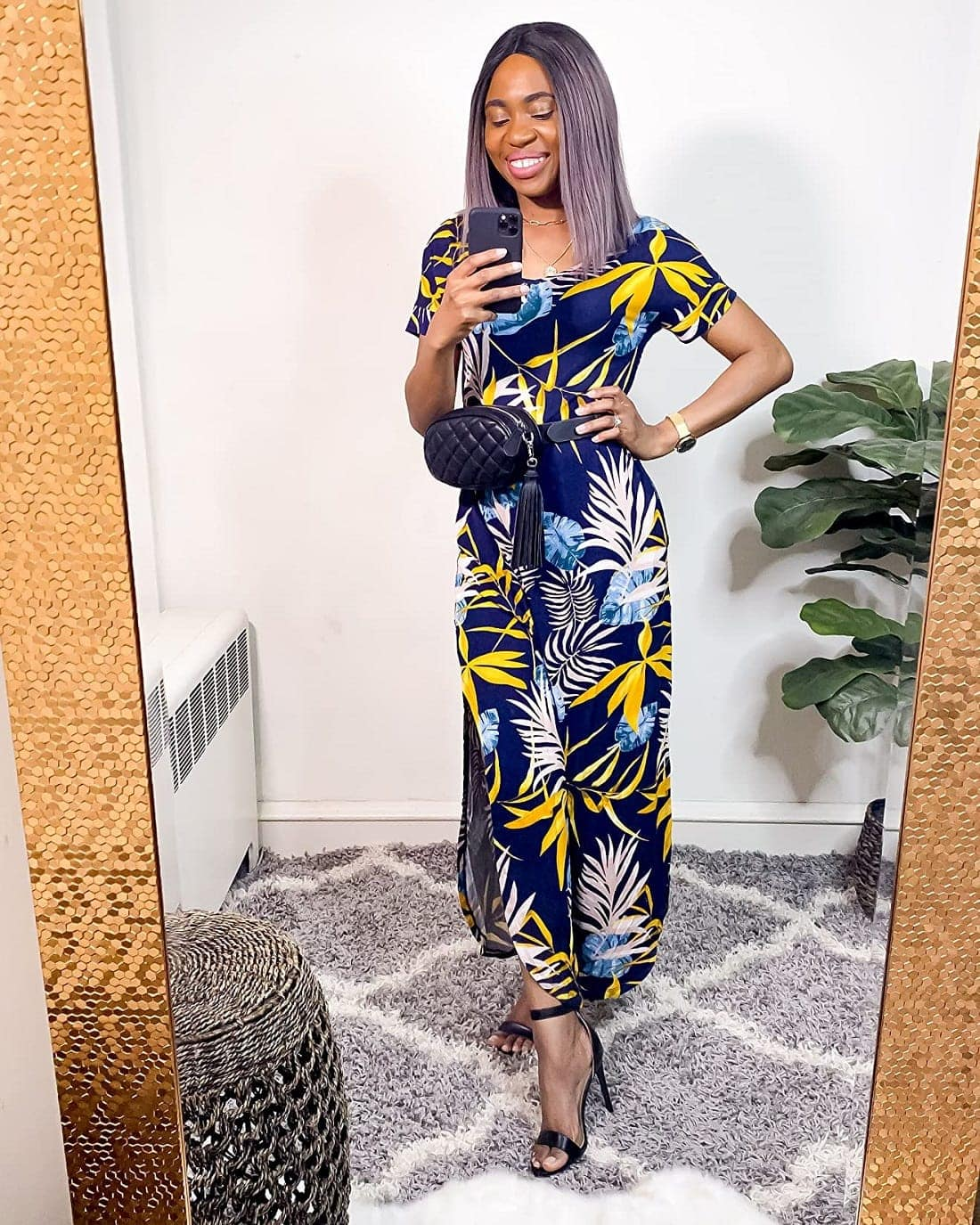 A video try-on sharing this gorgeous floral maxi dress from Amazon that's under $30