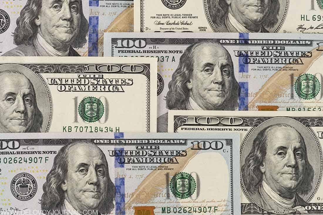 Бенджамин Франклин на 100-долларовой купюре