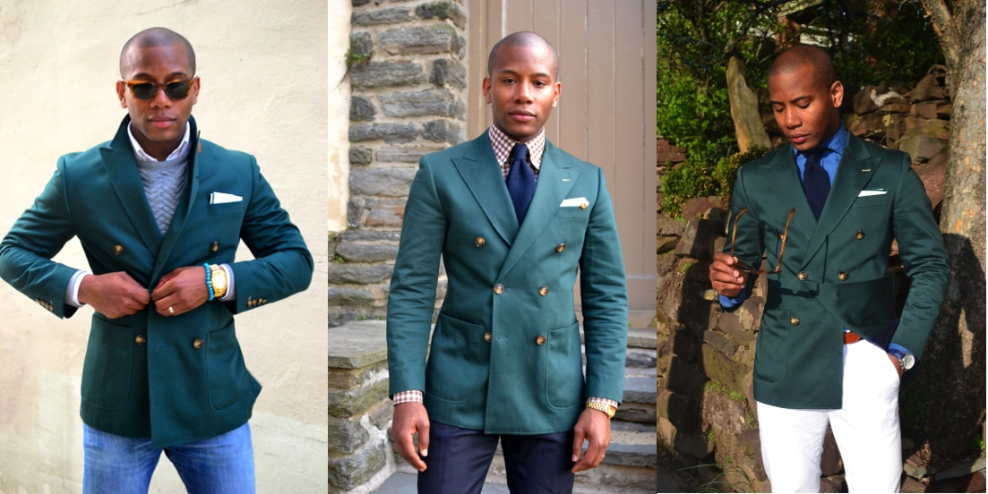 Sabir Peele Indochino Custom Green Double Breasted Blazer Triptic