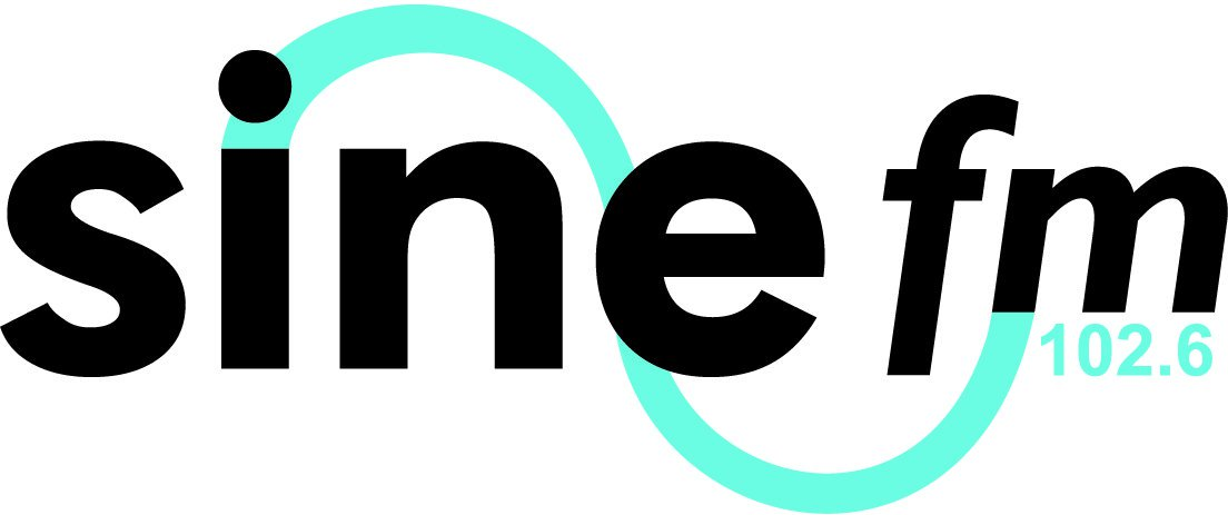 A company logo which says Sine FM, 102.6