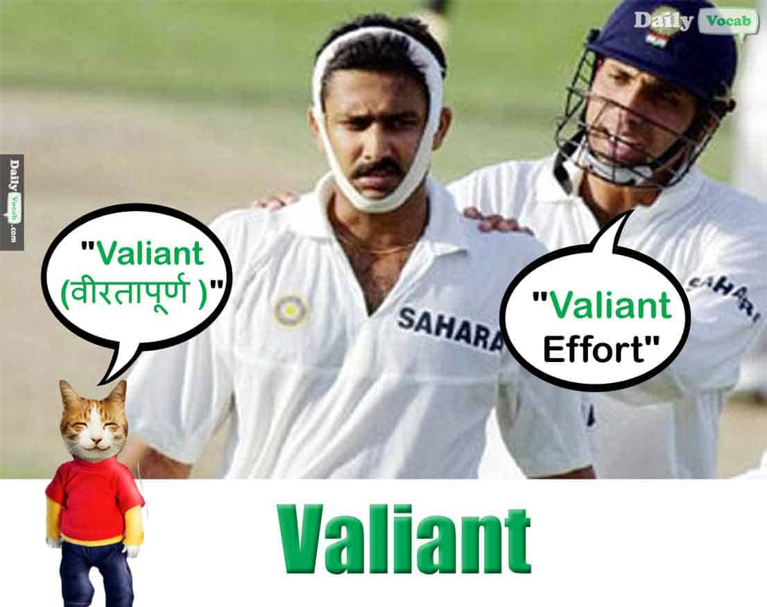 valiant meaning in Hindi