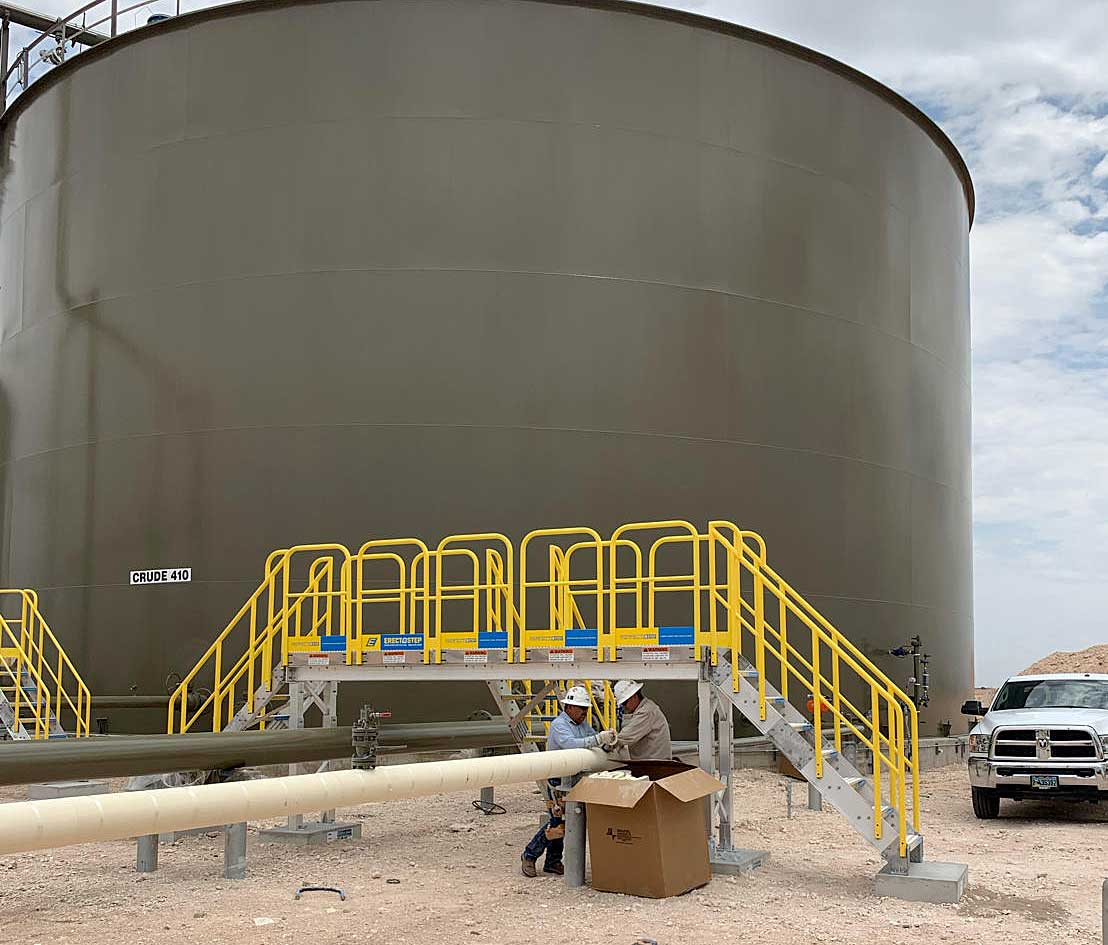 Metal Stair Tank Farm Pipe Crossover in the Permian Basin