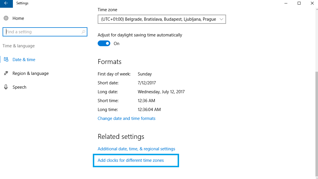 How To Add Multiple Time Zone Clocks In Windows 10