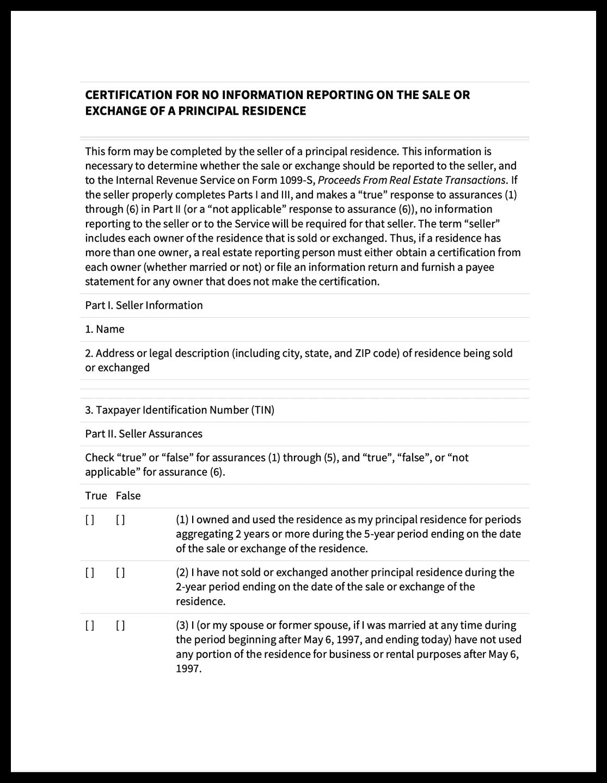 1099S Certification Exemption Form 1