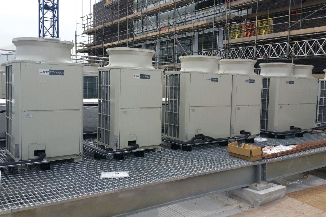 very large multiple commercial exterior Mitsubishi Electirc City Multi units fitted by SubCool FM