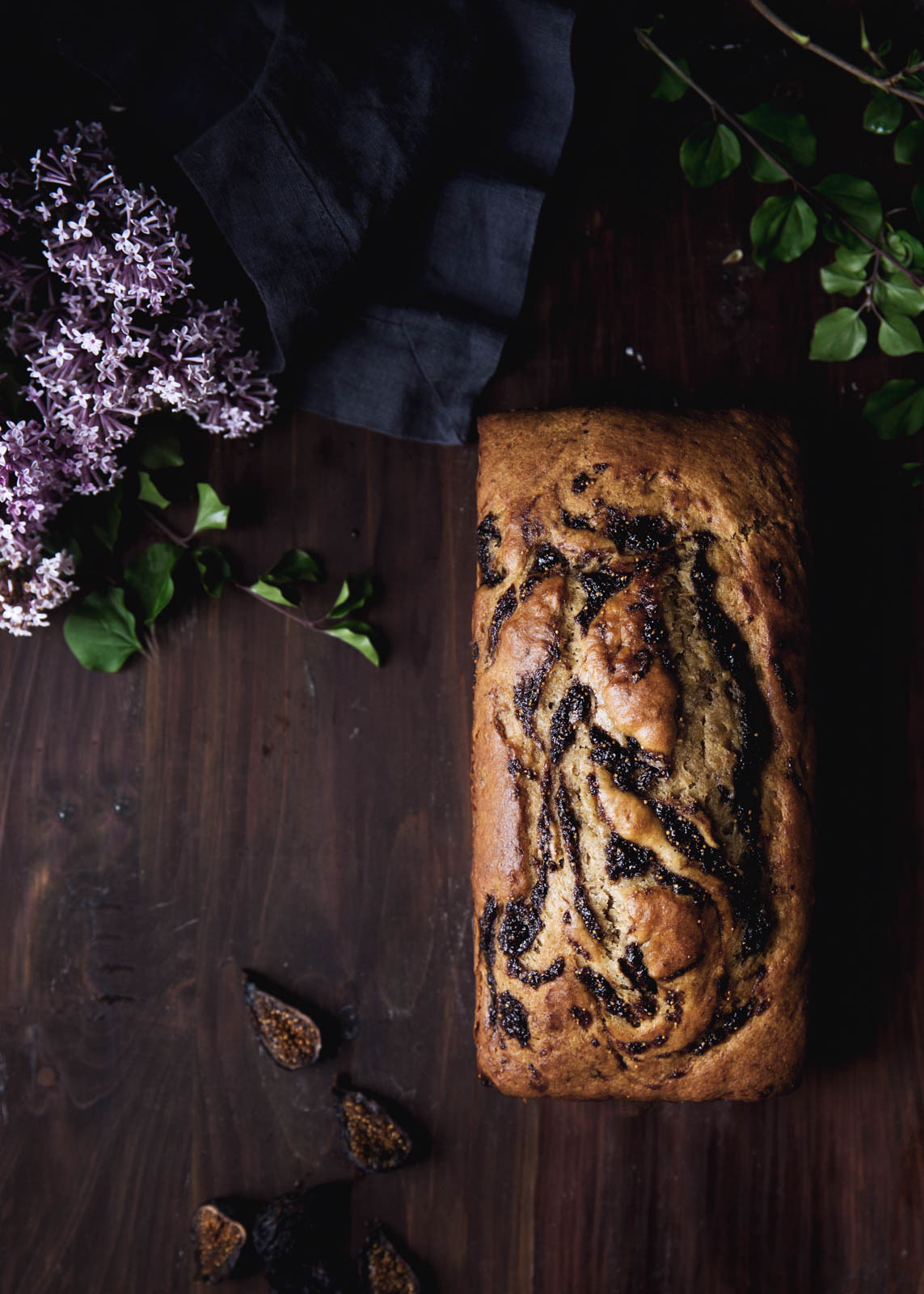 A nutty brown butter banana bread swirled with bourbon-soaked figs. Hello, gorgeous.