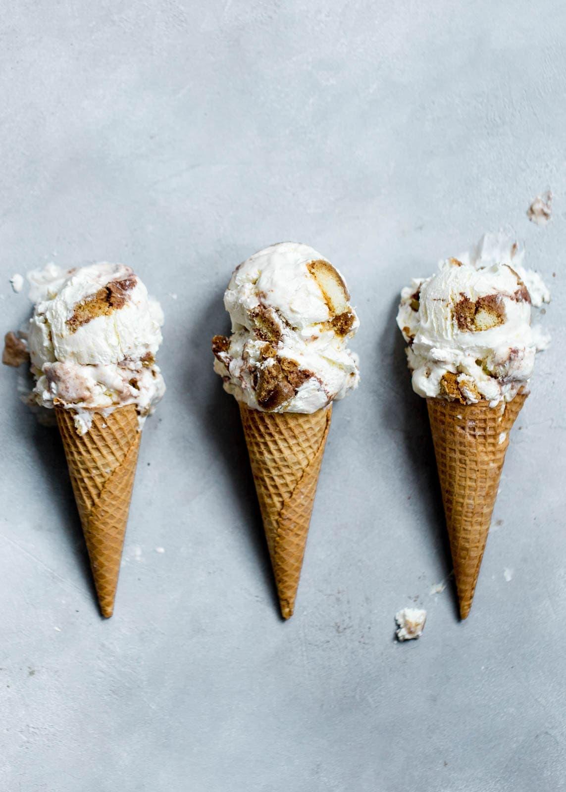 Tiramisu Ice Cream in cones