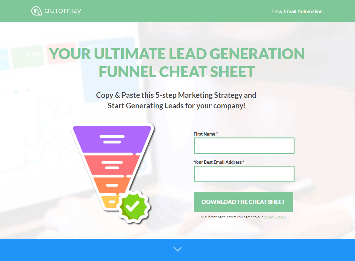 The landing page for the Lead Generation Cheat Sheet Campaign