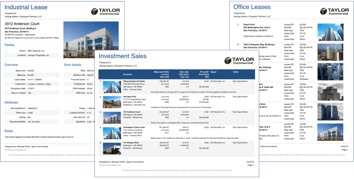 commercial real estate comp reports
