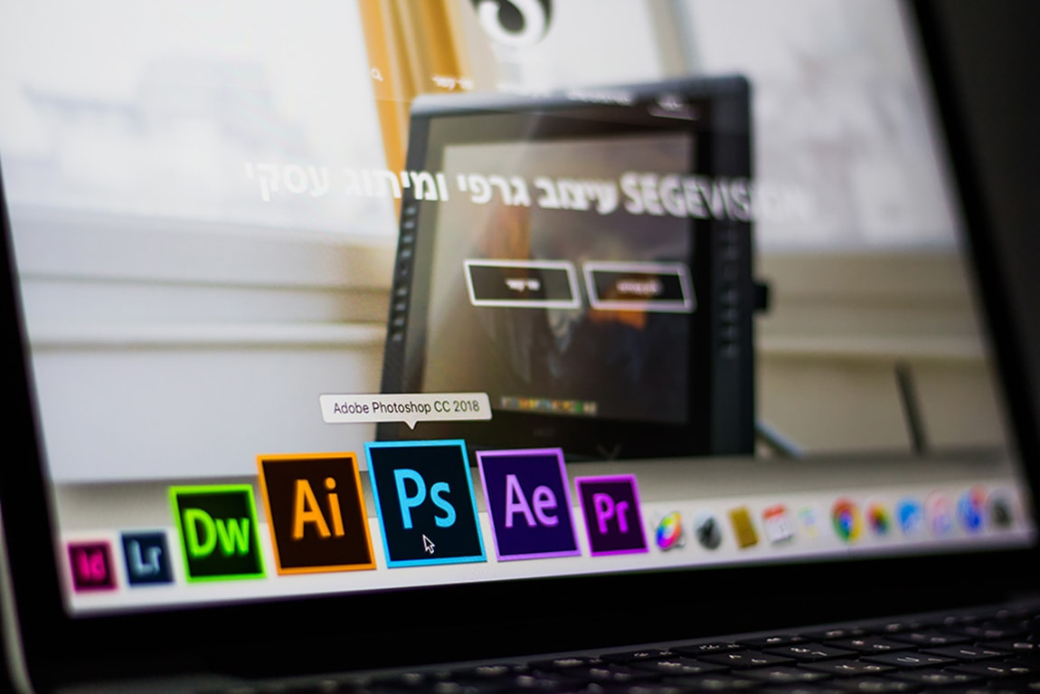Adobe photoshop, illustrator after effects on the monitor