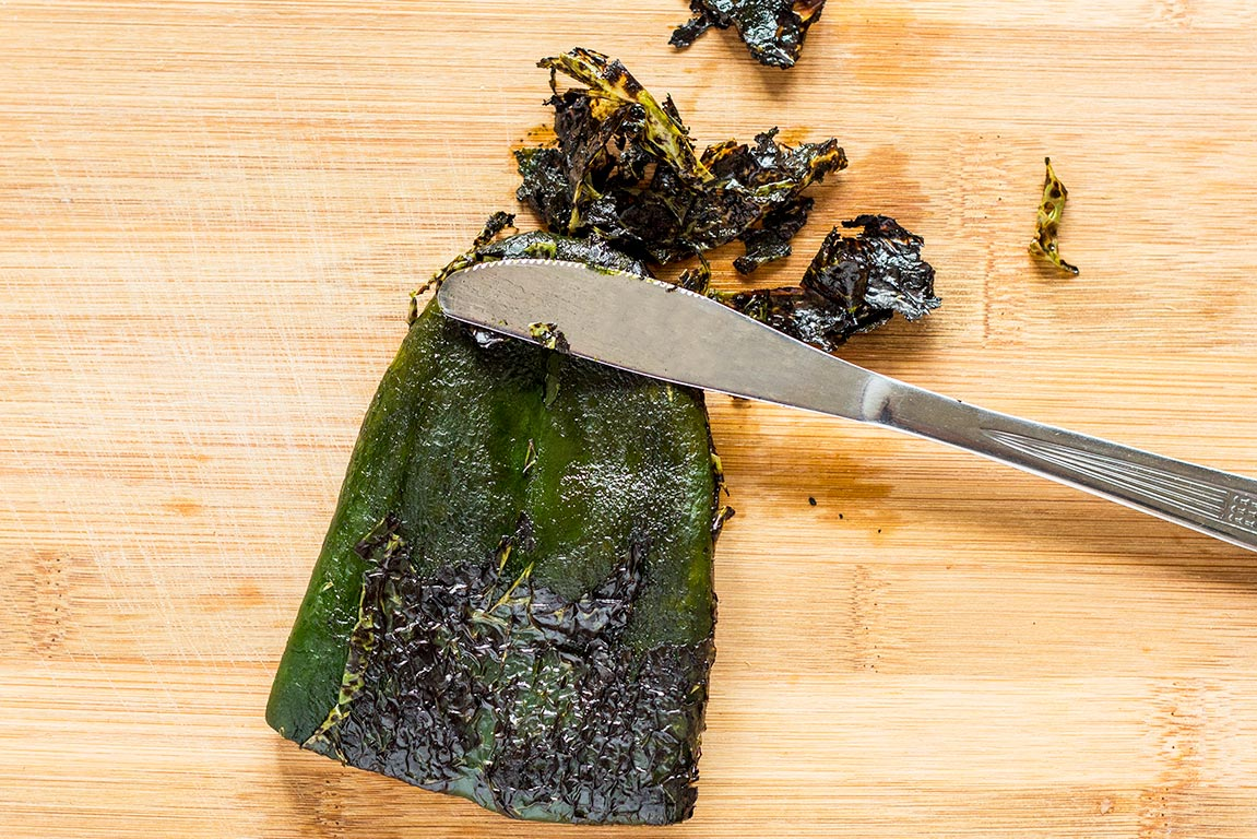 Removing skin off poblano peppers