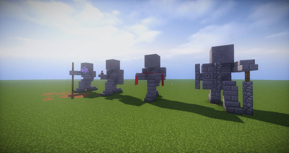 06 - Small Kneeling Statues easy build for miencraft ideas