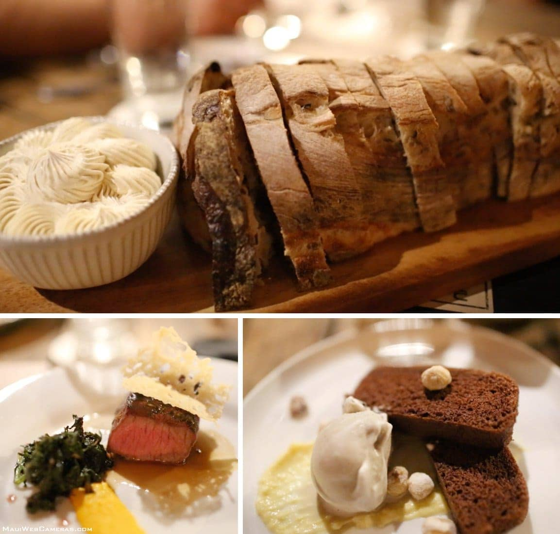 fresh bread, steak and dessert