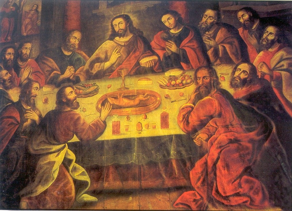 Painting of Last Supper with a roasted guinea pig on the plater