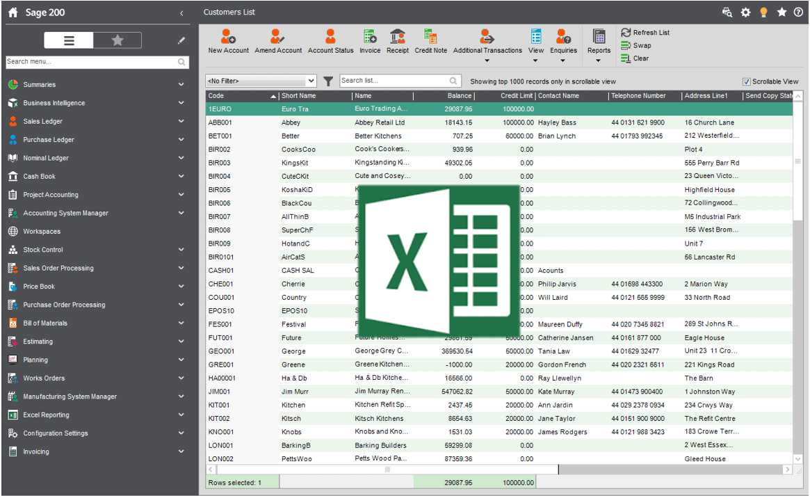 Sage 200 Send To Excel