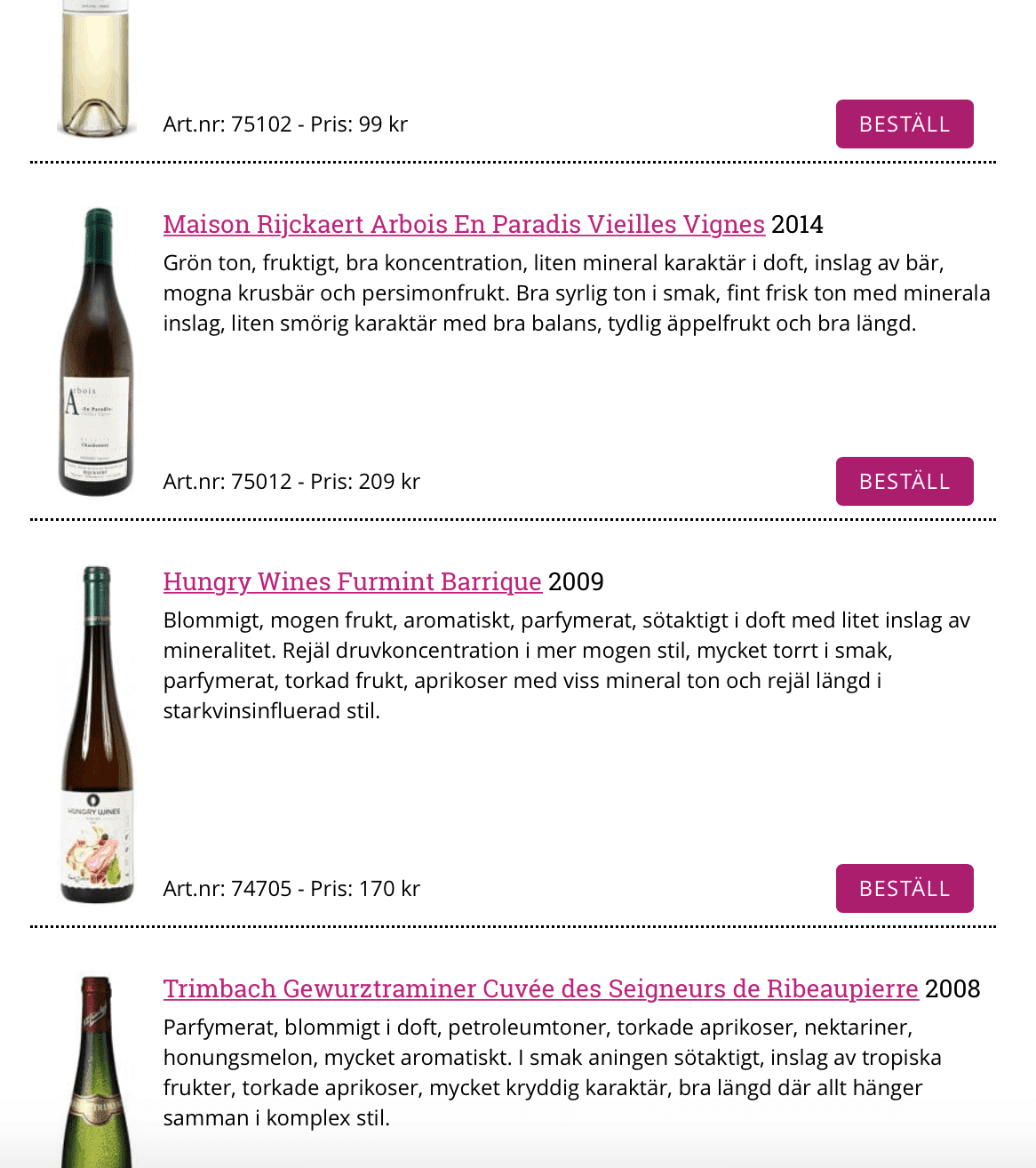 Furmint Barrique in top 5 wines of Systembolaget News release
