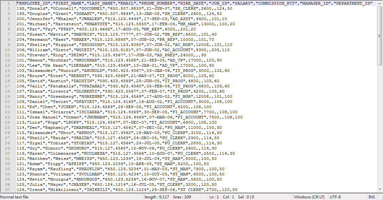 SQL Developer Query Result - Export CSV File Content