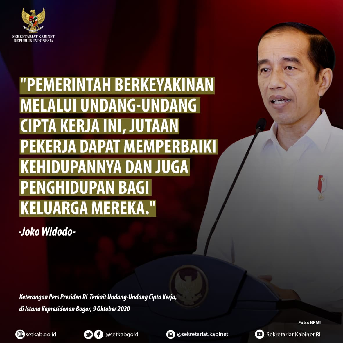 Pernyataan Presiden Joko Widodo terkait UU Cipta Kerja di Istana Kepresidenan Bogor, Jumat (9/10)