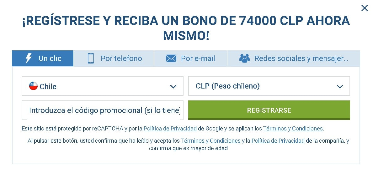 1xBet Chile register