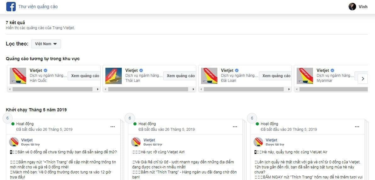 Xem quảng cáo Facebook của Vietjet