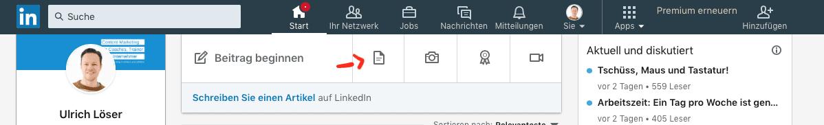 LinkedIn Updates Dokumente teilen