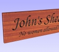 Engraving simulation 3D example of wooden sign