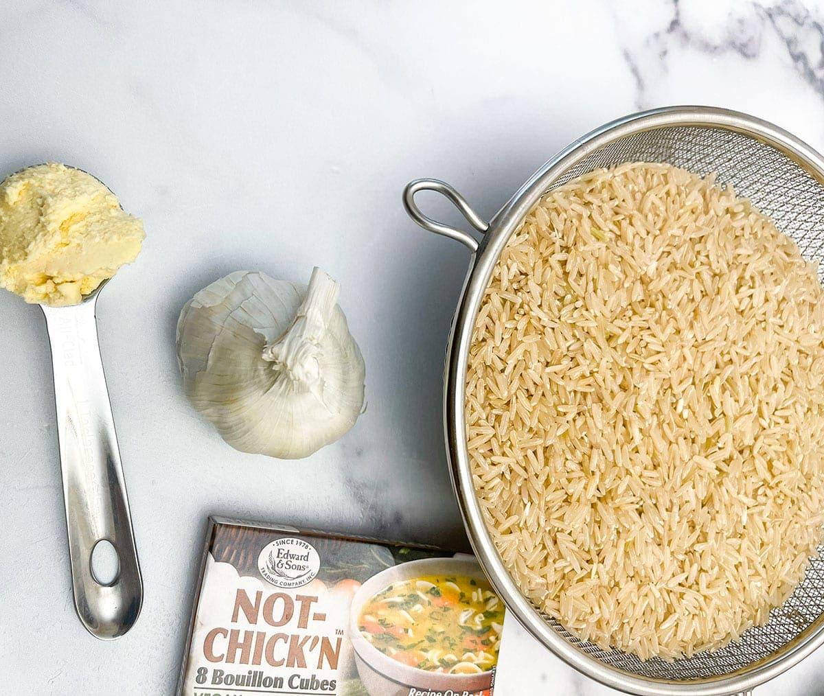 brown garlic rice in a pot