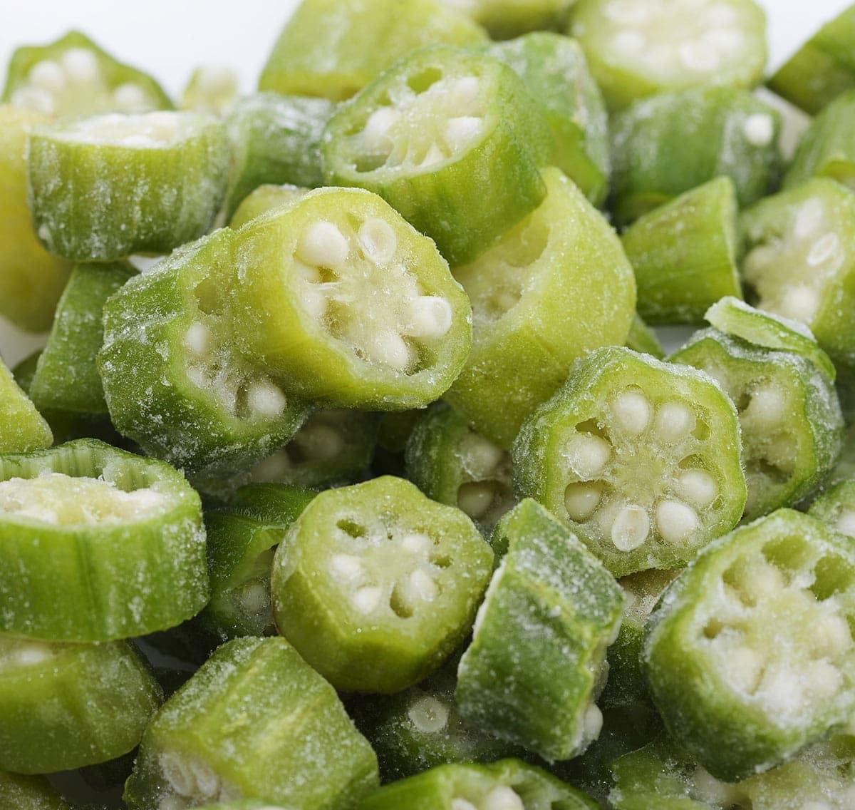 close up frozen okra