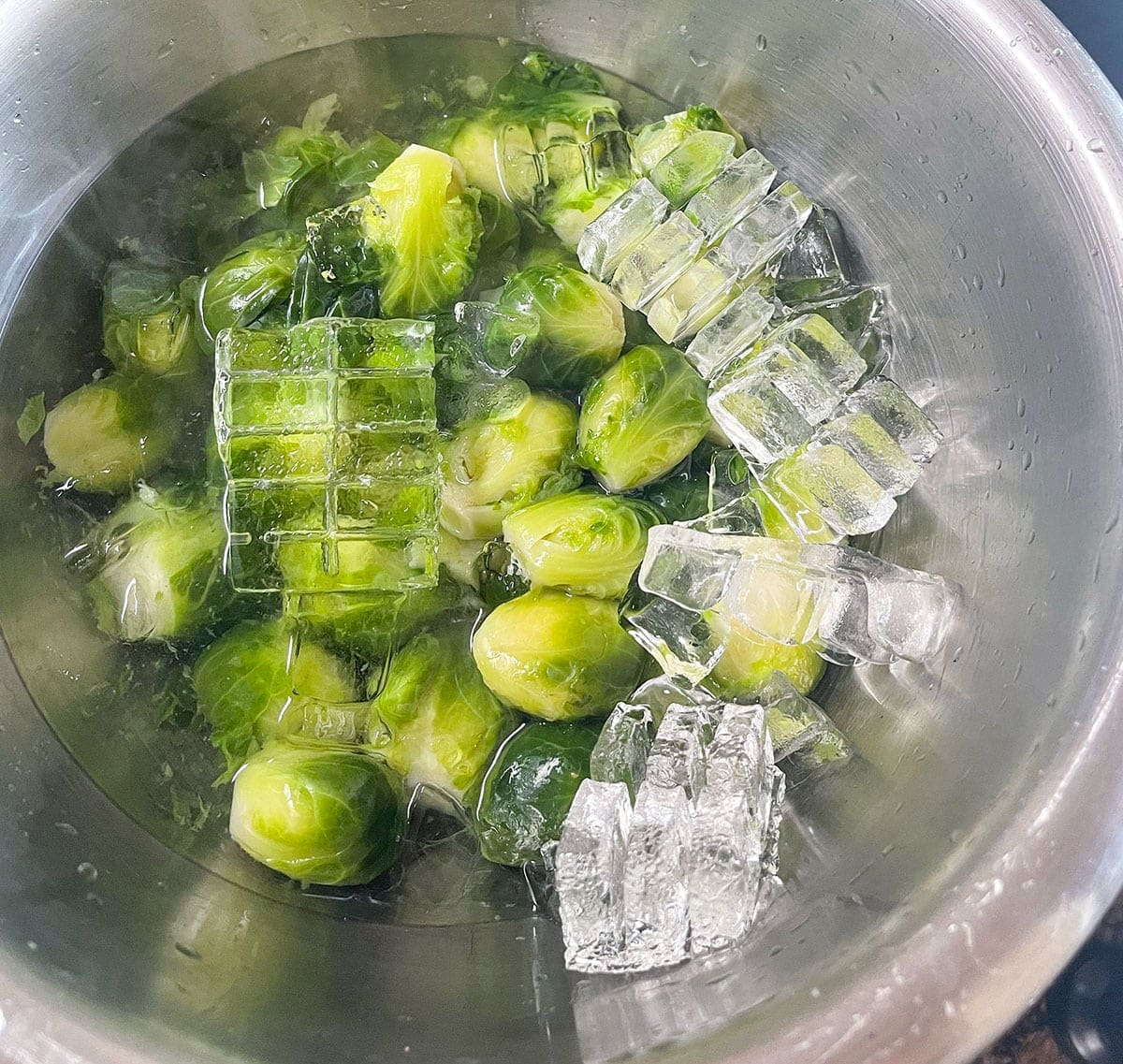 water bath for Brussels sprouts