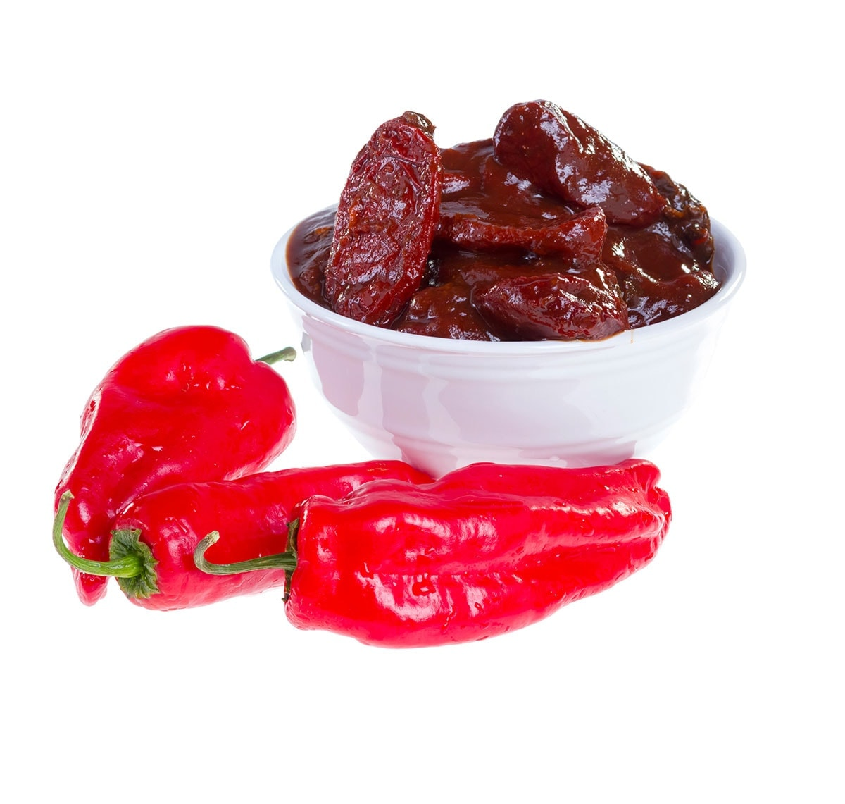 chipotle pepper and chipotle in adobo sauce on a white background
