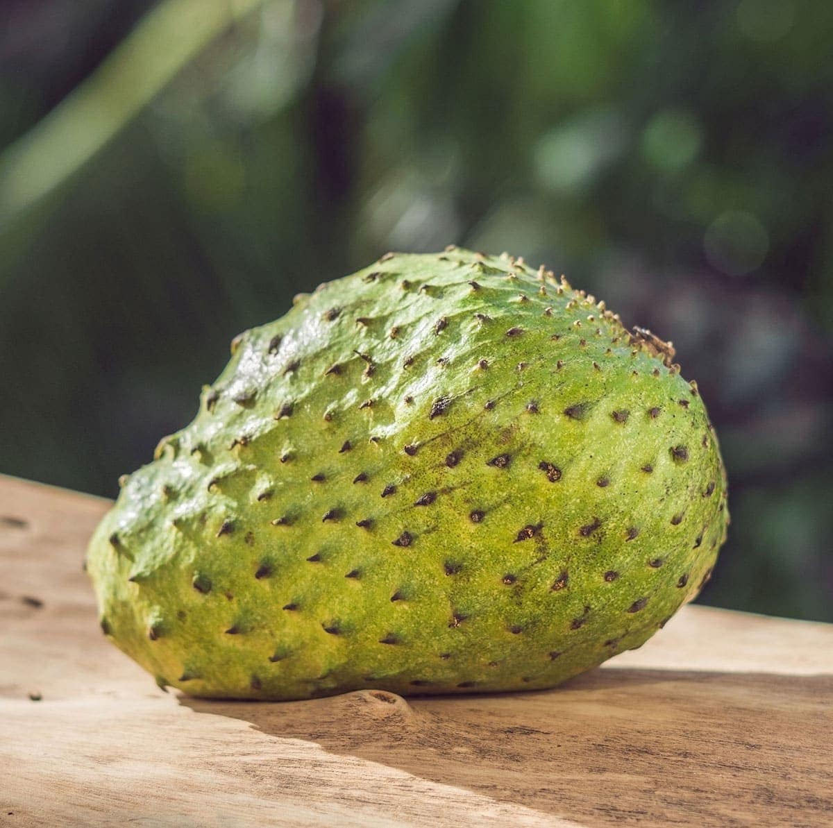 whole soursop on a wooden background