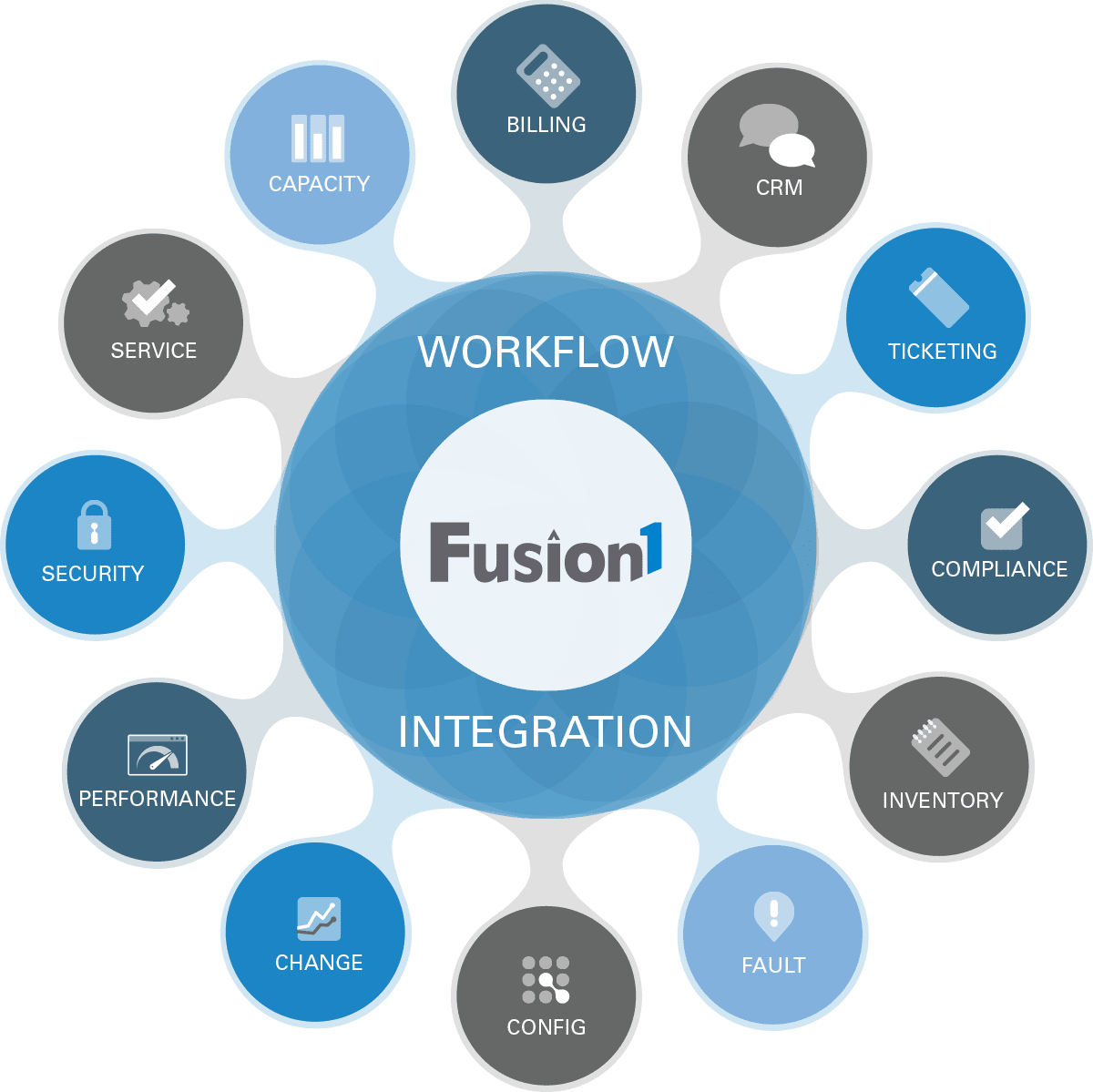 A graphic representation of the Fusion1 process and workflow product application