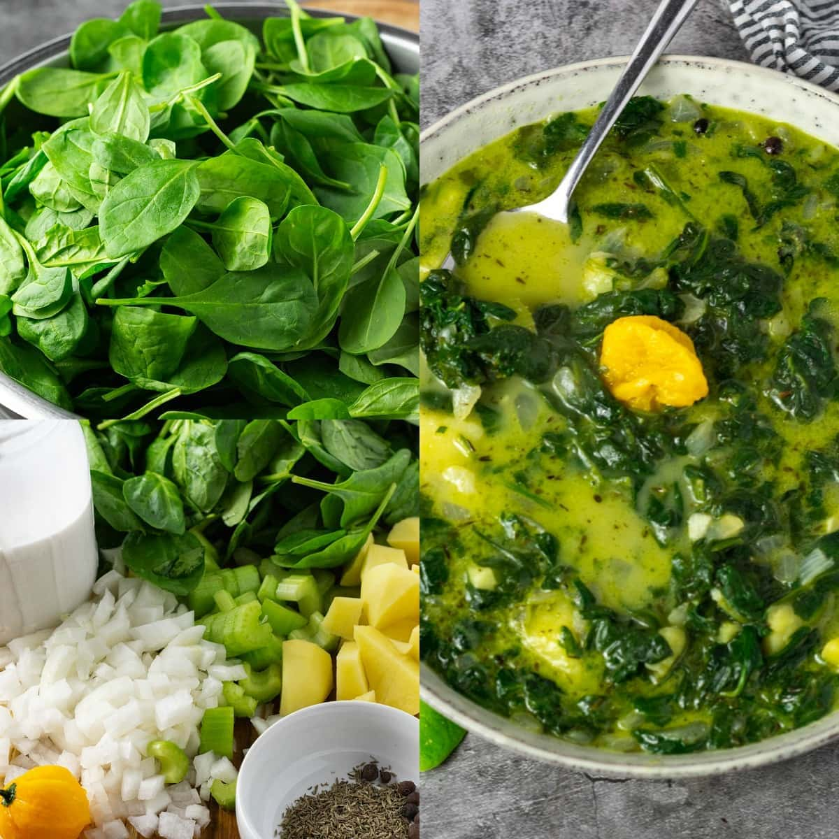 photo collage of vegan spinach soup steps