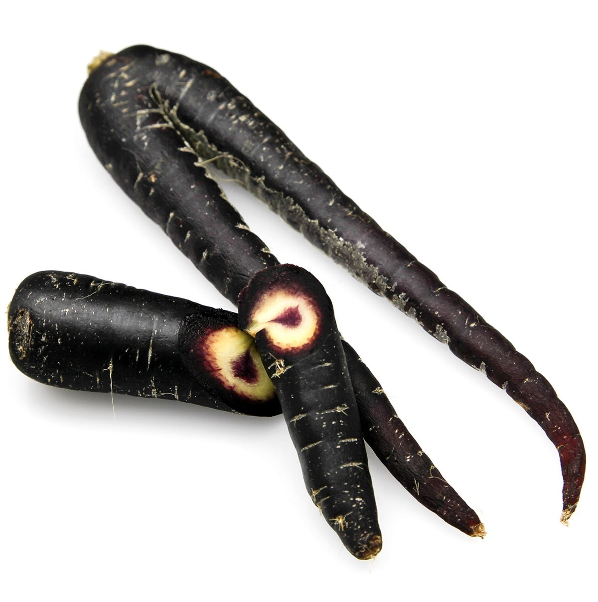 Black carrots with one sliced