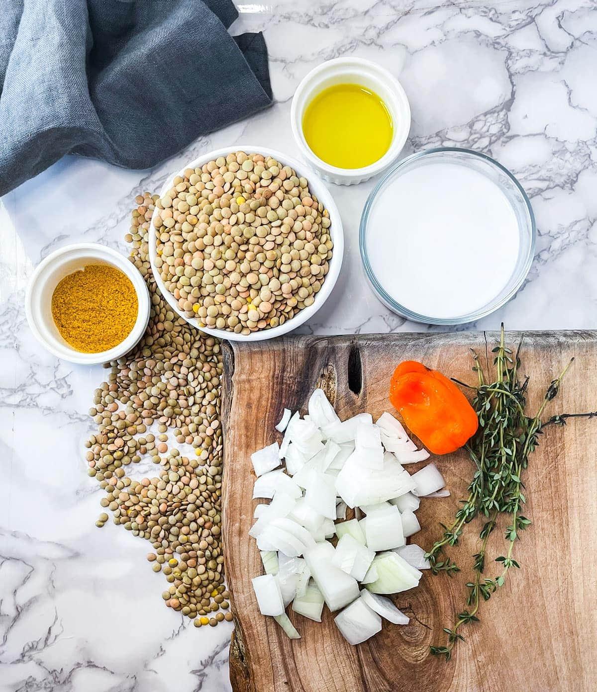curry lentil in instant pot ingredients